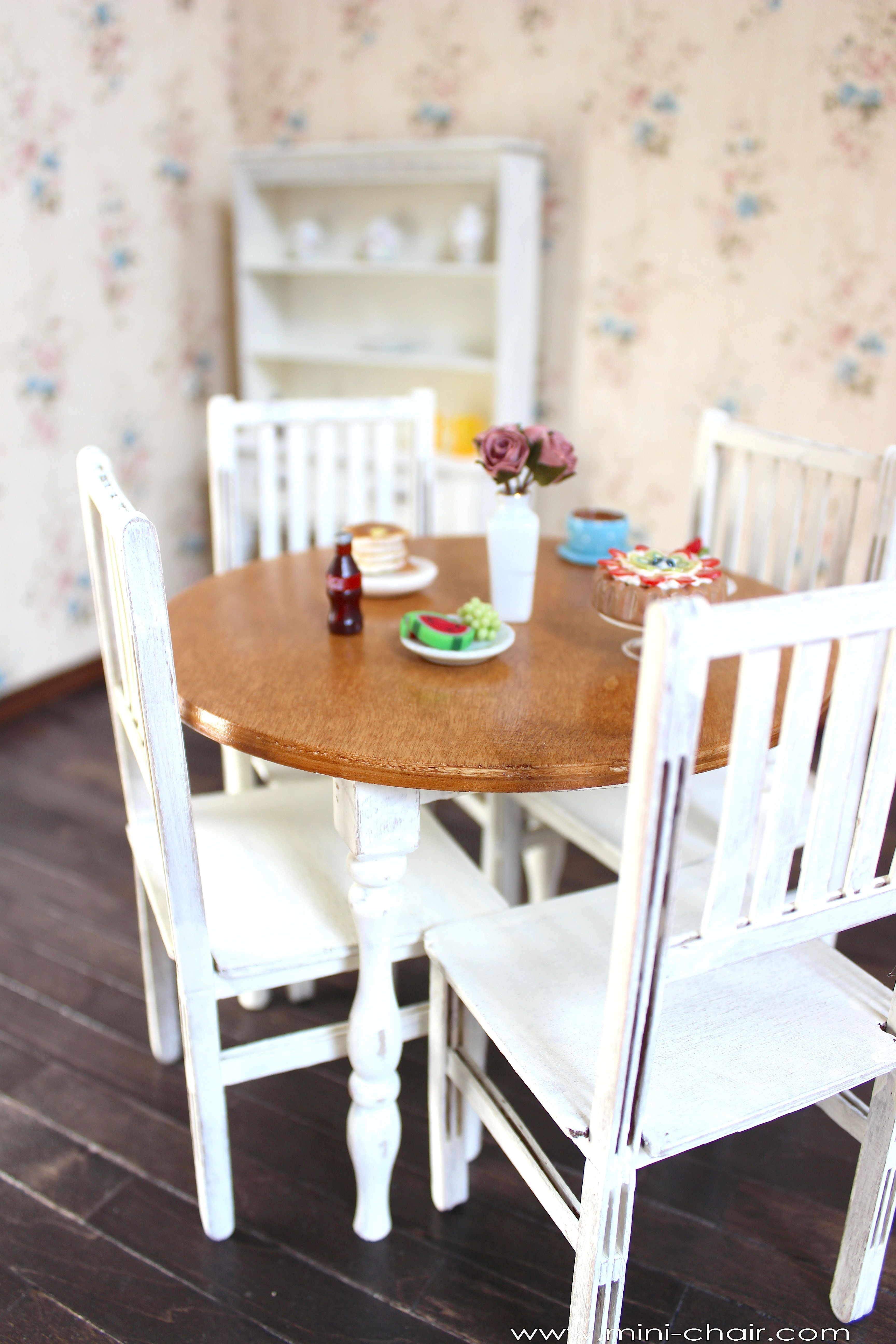 1 6 scale round table and 4 chairs dining rustic furniture for dolls rh pinterest ca