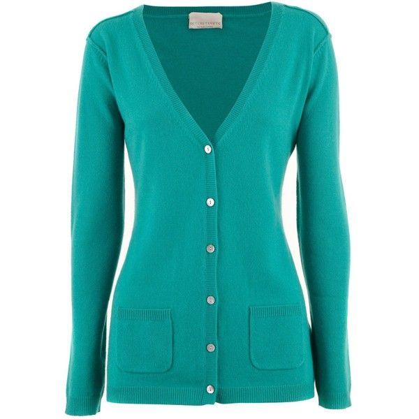 FTC Cashmere Turquoise Cashmere Cardigan Natalie ($285) ❤ liked ...