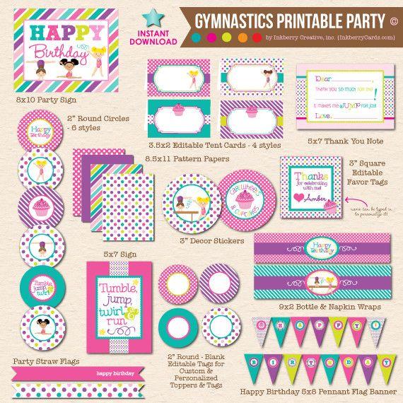 cupcakes cartwheels gymnastics party diy printable party pack rh pinterest com