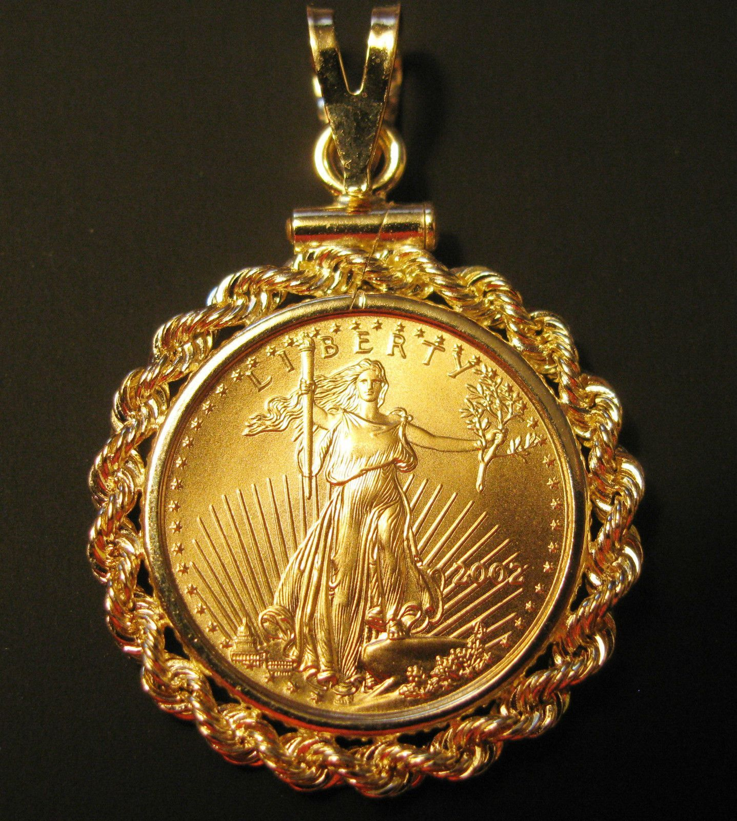 1 10 Oz American Eagle Gold Coin Pendant Solid 14k Bezel Made In The Usa Item Specifics Composition G Gold Eagle Coins American Eagle Gold Coin Gold Coins