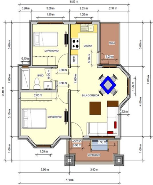 Plano de casa de 72 m2 un piso 2 dormitorios casas for Planos para casas de un piso