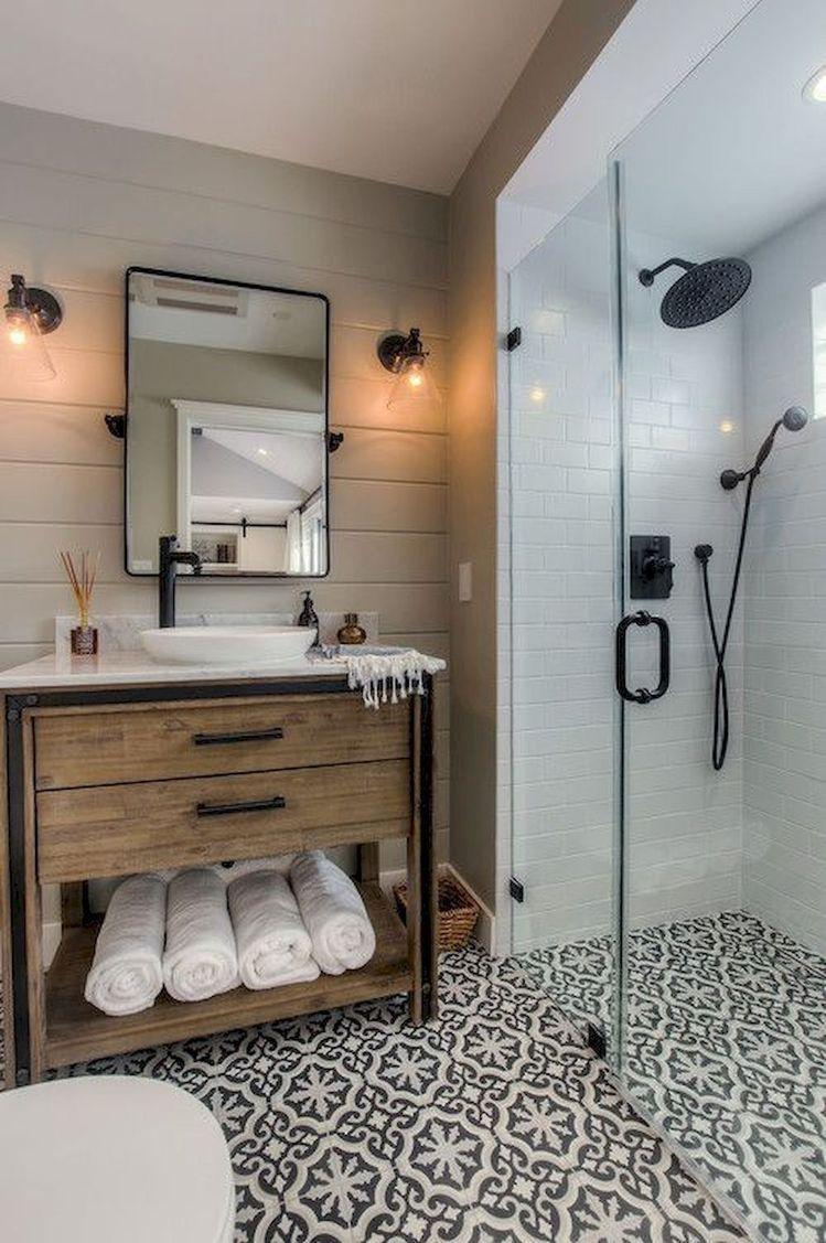 20 Wonderful Small House Renovations Design Ideas That Have A Stylish Wood Furnitur In 2020 Patterned Bathroom Tiles Bathroom Farmhouse Style Small Farmhouse Bathroom