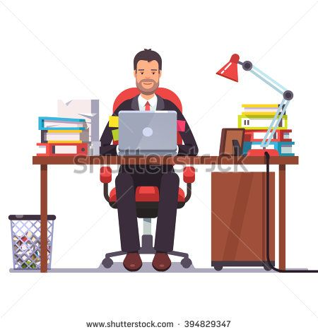 Business Man Entrepreneur In A Suit Working At His Office Desk Flat Style Modern Vector