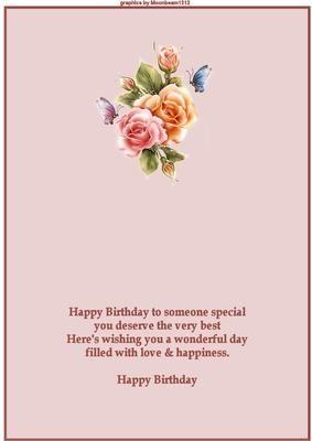 Flowers Butterflies Insert Greeting Card Sentiments Birthday Verses Card Making Birthday