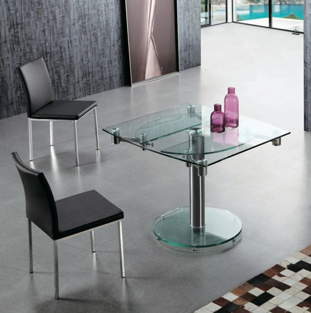 Mesa de comedor ovalada extensible  cristal  LE MANS