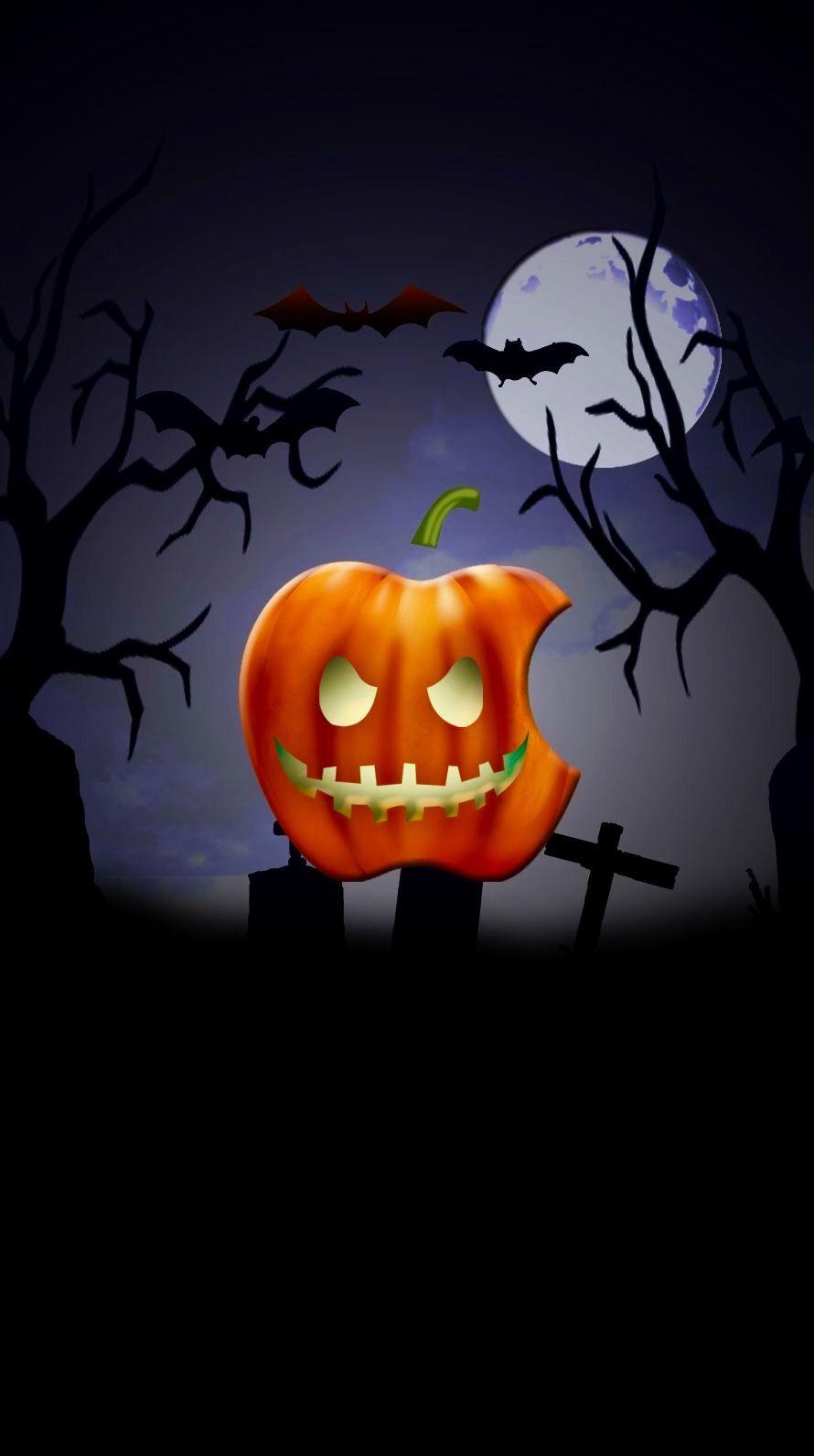 Jack O Lantern Apple Halloween Wallpaper Apple Logo Wallpaper Apple Wallpaper