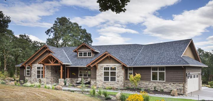 Jaw dropping mix of ranch craftsman style home hq plan for Craftsman style office