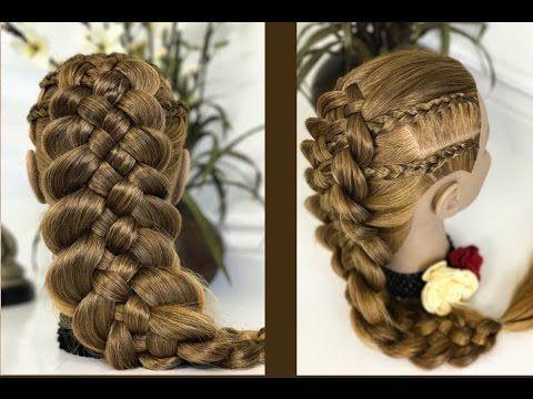 Trenza de 5 cabos con trenzas africanas  peinados faciles par