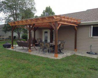 covered pergola plans 12x20 build diy outside patio wood rh pinterest com