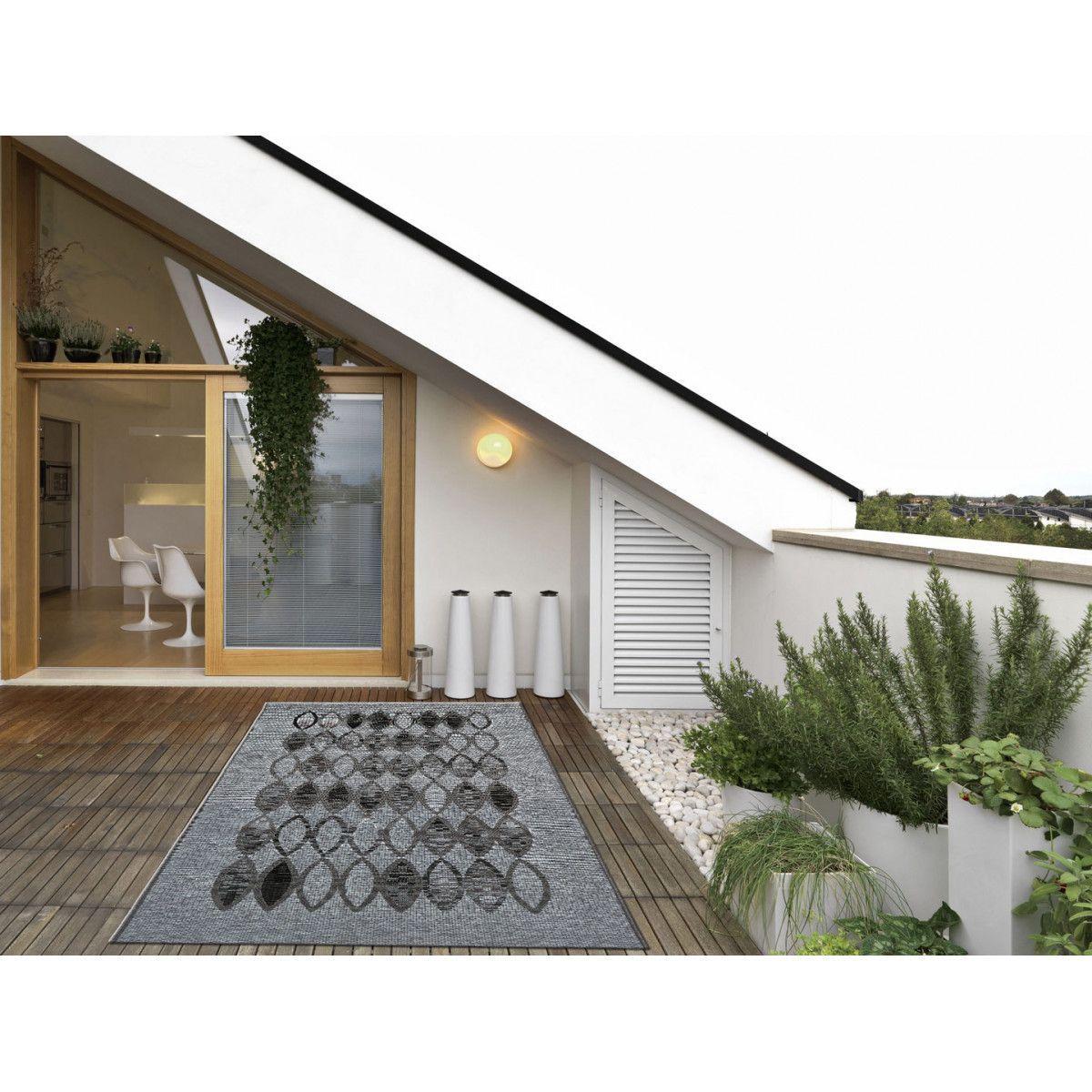 Creer Une Terrasse Tropezienne tapis plat de terrasse gris ethnique salerne - taille
