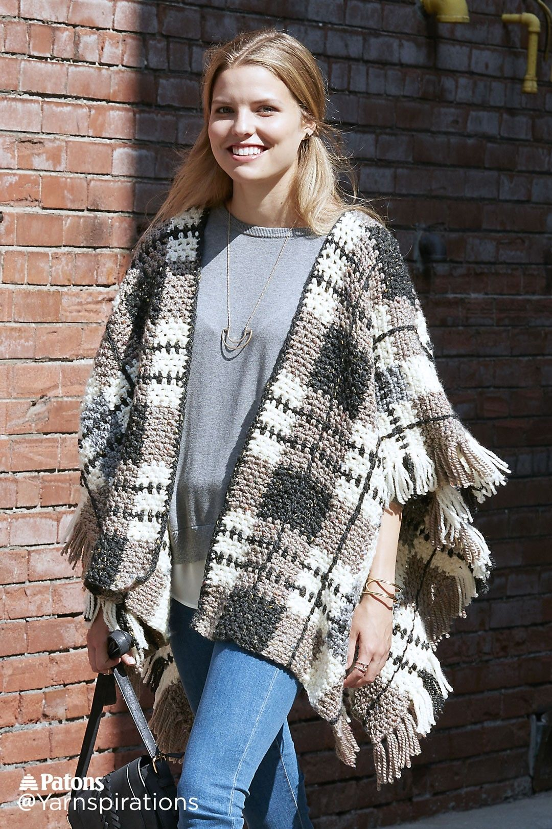 Plaid Blanket Crochet Poncho | Yarnspirations | Free Pattern ...