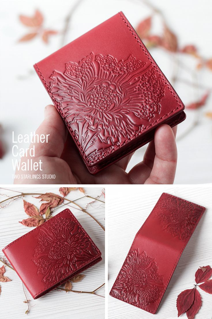 Leather Card Wallet - Red Leather Card Holder - Hand Painted Tooled ...