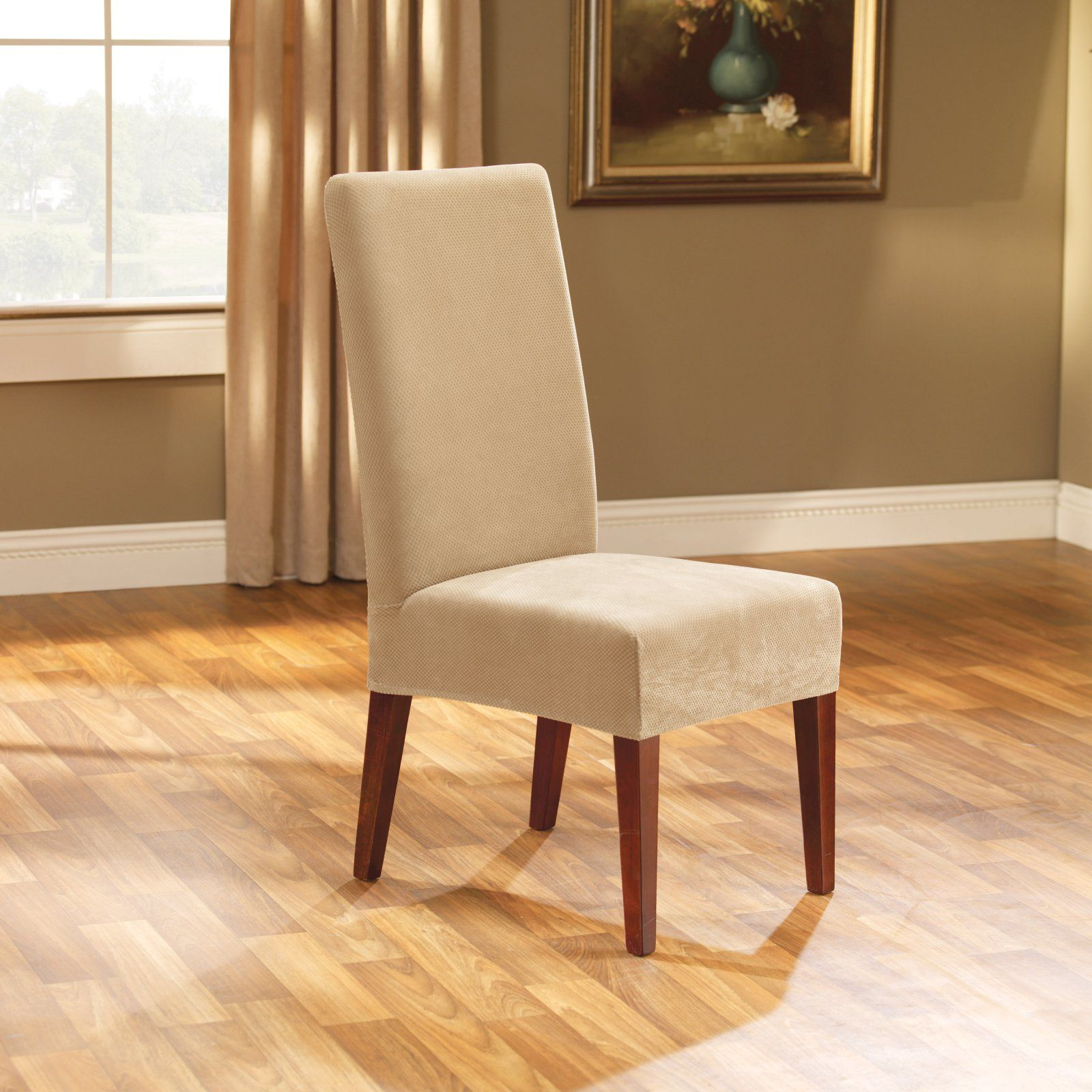 sure fit stretch pique short dining room chair cover taupe in 2019 rh pinterest com