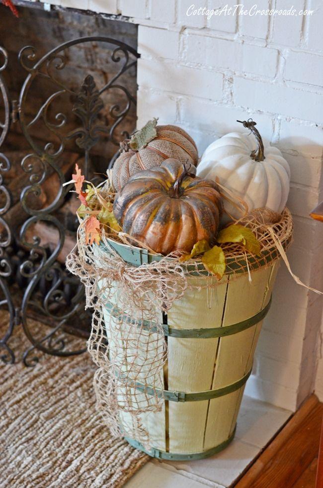 Gourds On Our Fall Mantel Bushel Baskets Fall Deco Basket