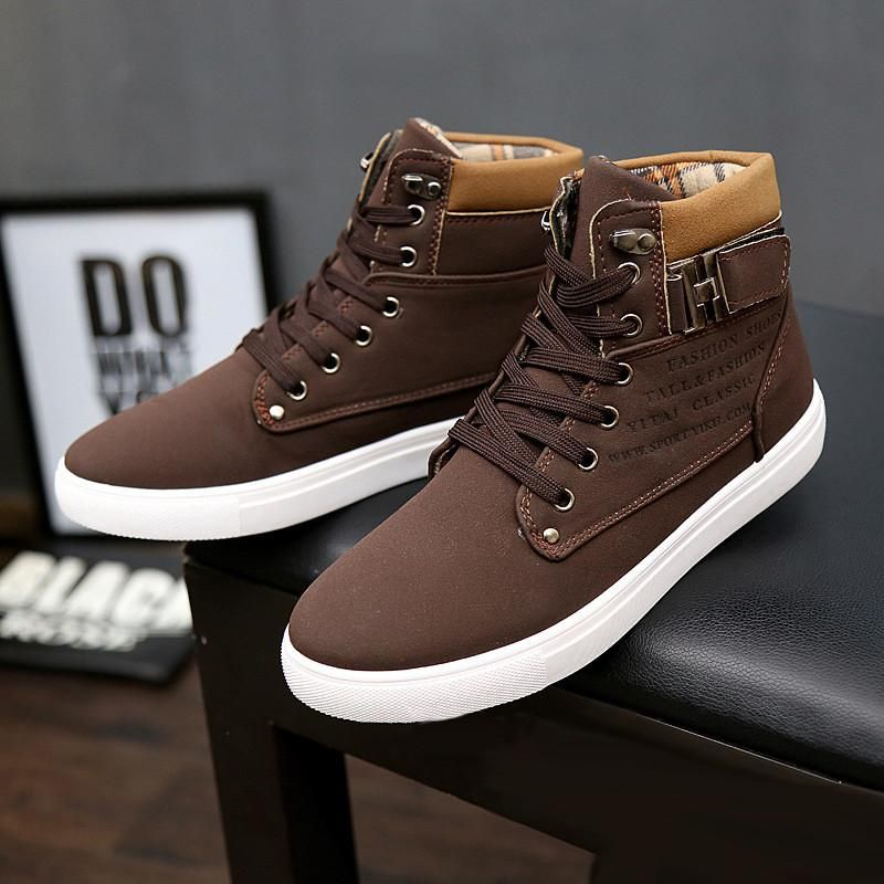 1dde2efbeaf 2018 Hot Sale Spring Winter Men Ankle Boots Fashion Men Shoes Casual Shoes  British Style Male High Top Mens Shoes