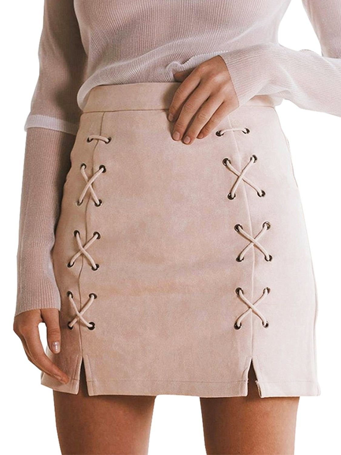 c1310ef1f5823c Women's Clothing, Skirts, Women's Slit Lace Up High Waist Bodycon Faux Suede  Skirt - Nude Pink - CJ12N38GDLI #Skirts #fashion #clothing #style #shopping