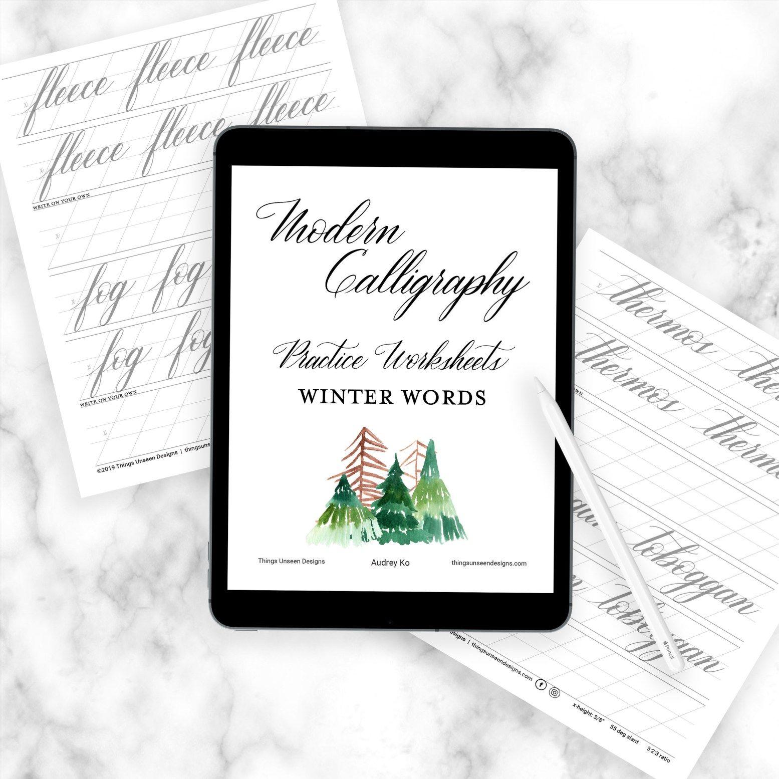 Modern Calligraphy Worksheets Winter Words
