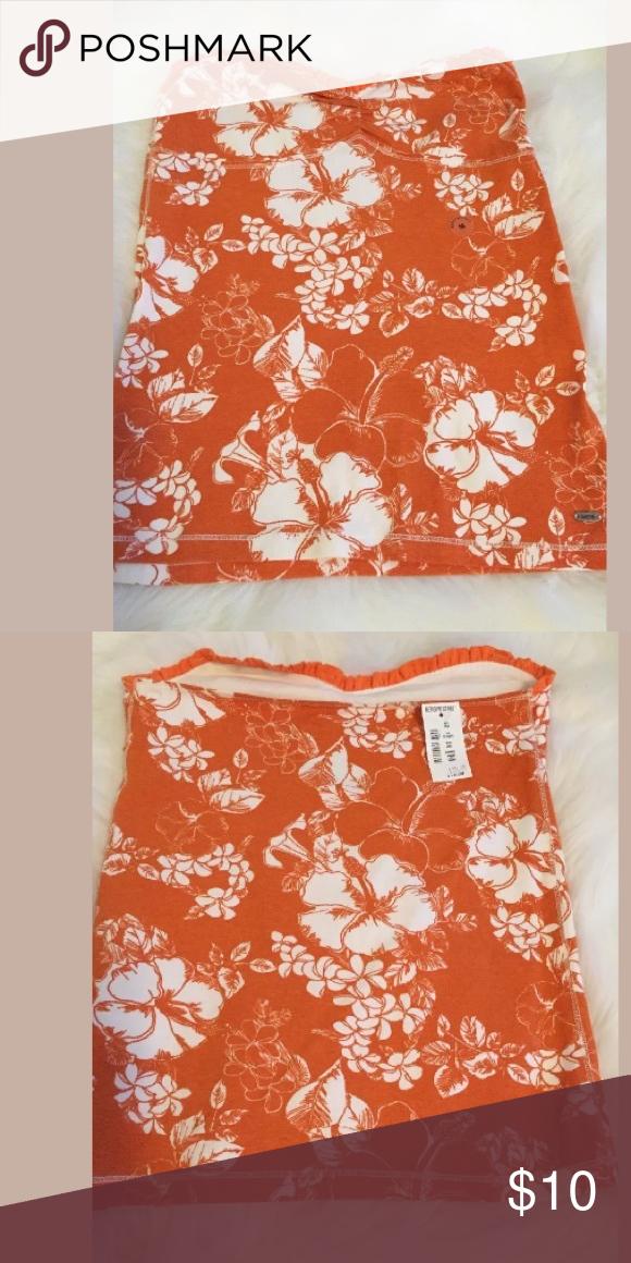 "New Aeropostale Tube top M Orange & white floral print. 15.5"" length. Stretch Medium. NWT Aeropostale Tops"
