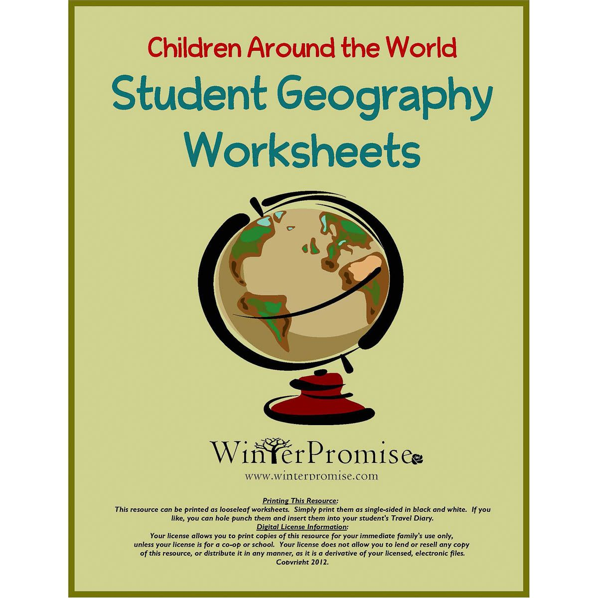 Student Geography Worksheets