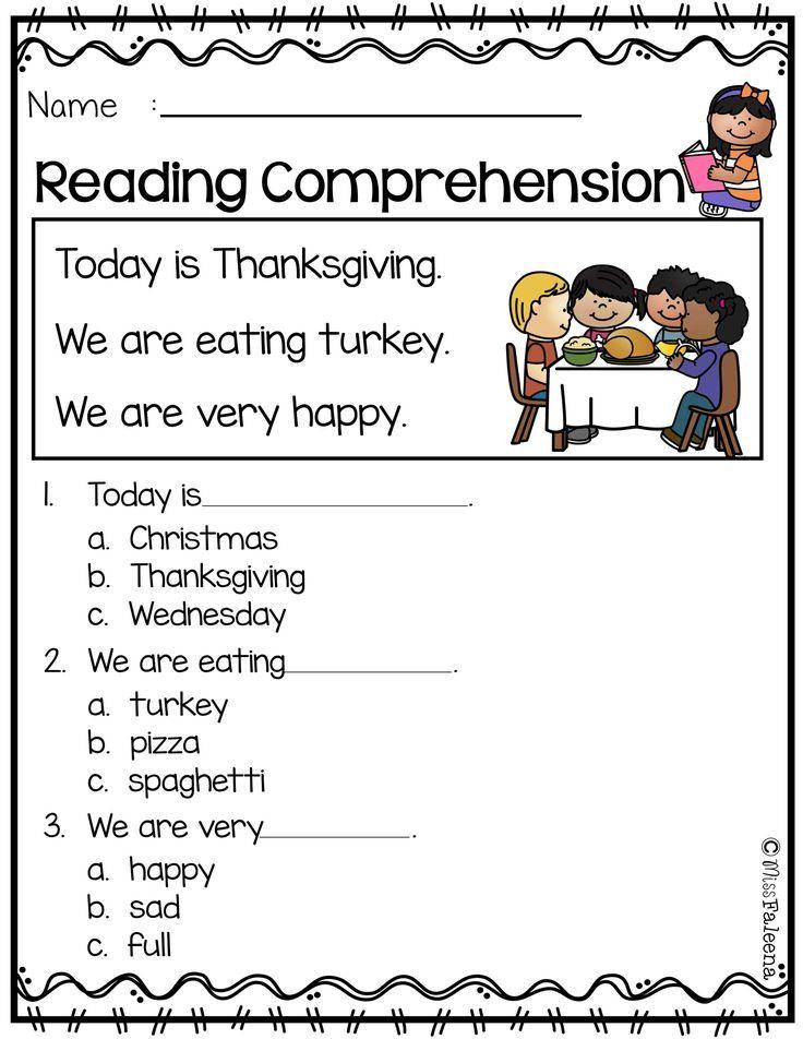 November Reading Comprehension – Comprehension Worksheets Kindergarten