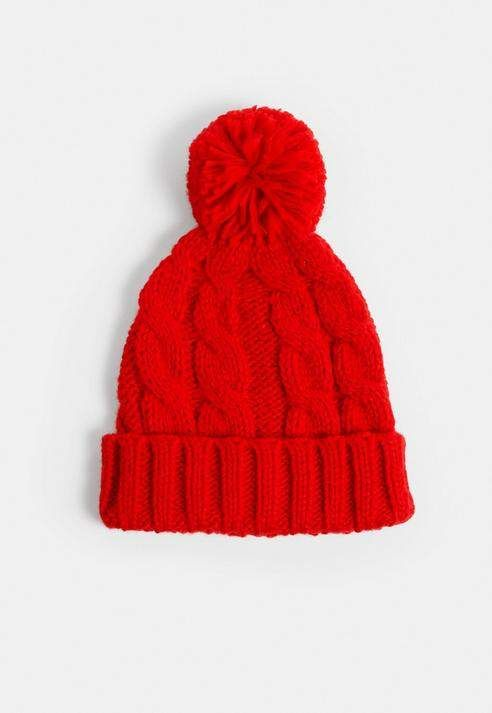 ec108f75c Missguided Red Cable Knit Bobble Hat   Products   Bobble hats ...