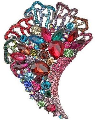 Multicolor Bouquet Drop Pendant Crystal Brooch | eBay