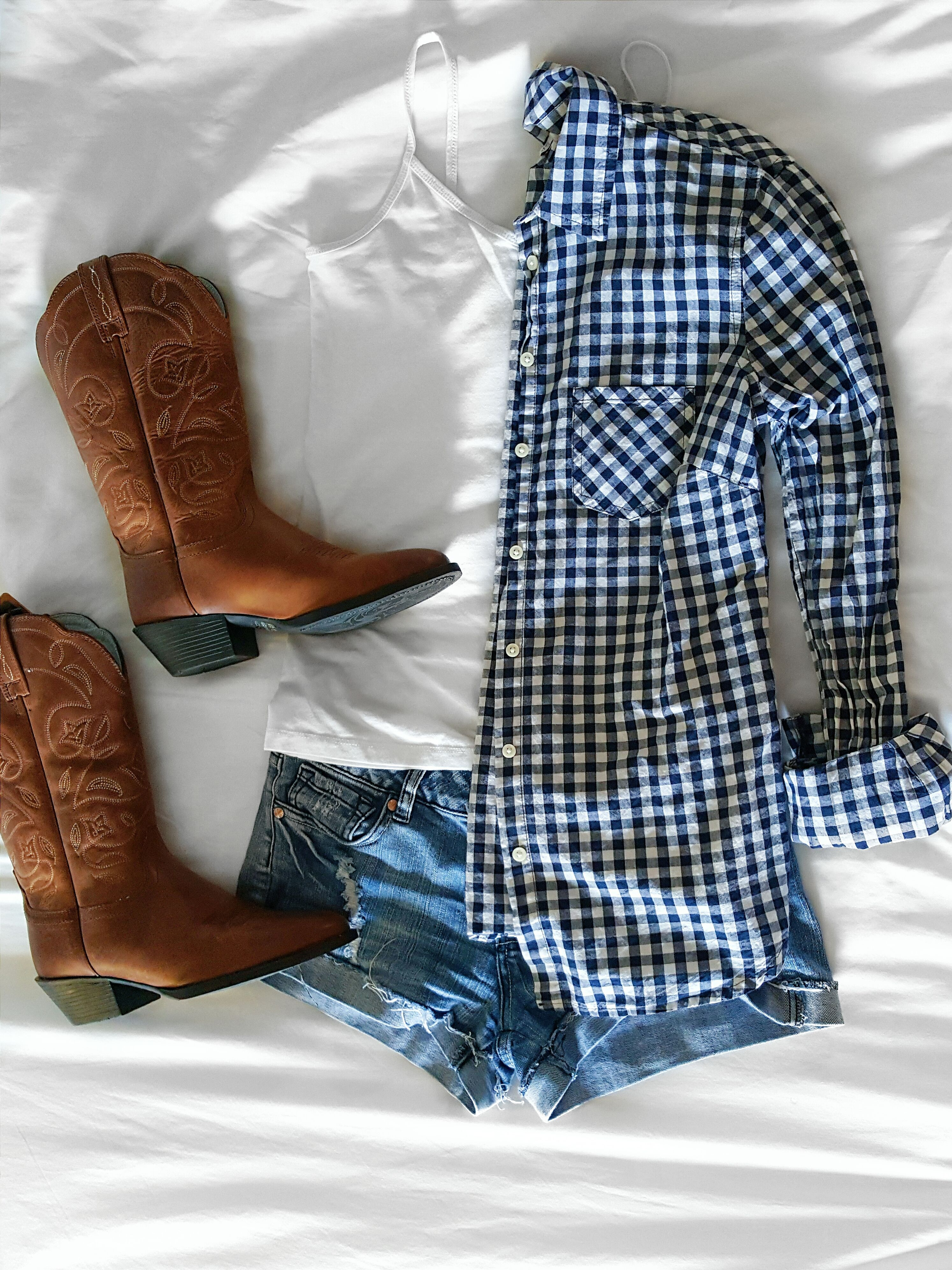 Flannel shirt with shorts  flatlay flat lay fashion demin shorts outfit ootd cowgirl boots