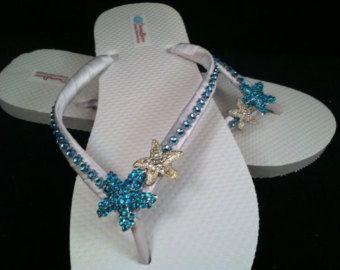 Angelica Bridal Flip Flops Custom Starfish Dancing Shoes Sandals Wedding Beach