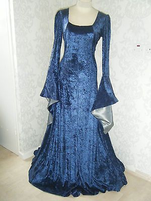 Medieval renaissance gown game of thrones midnight blue/silver xs ...