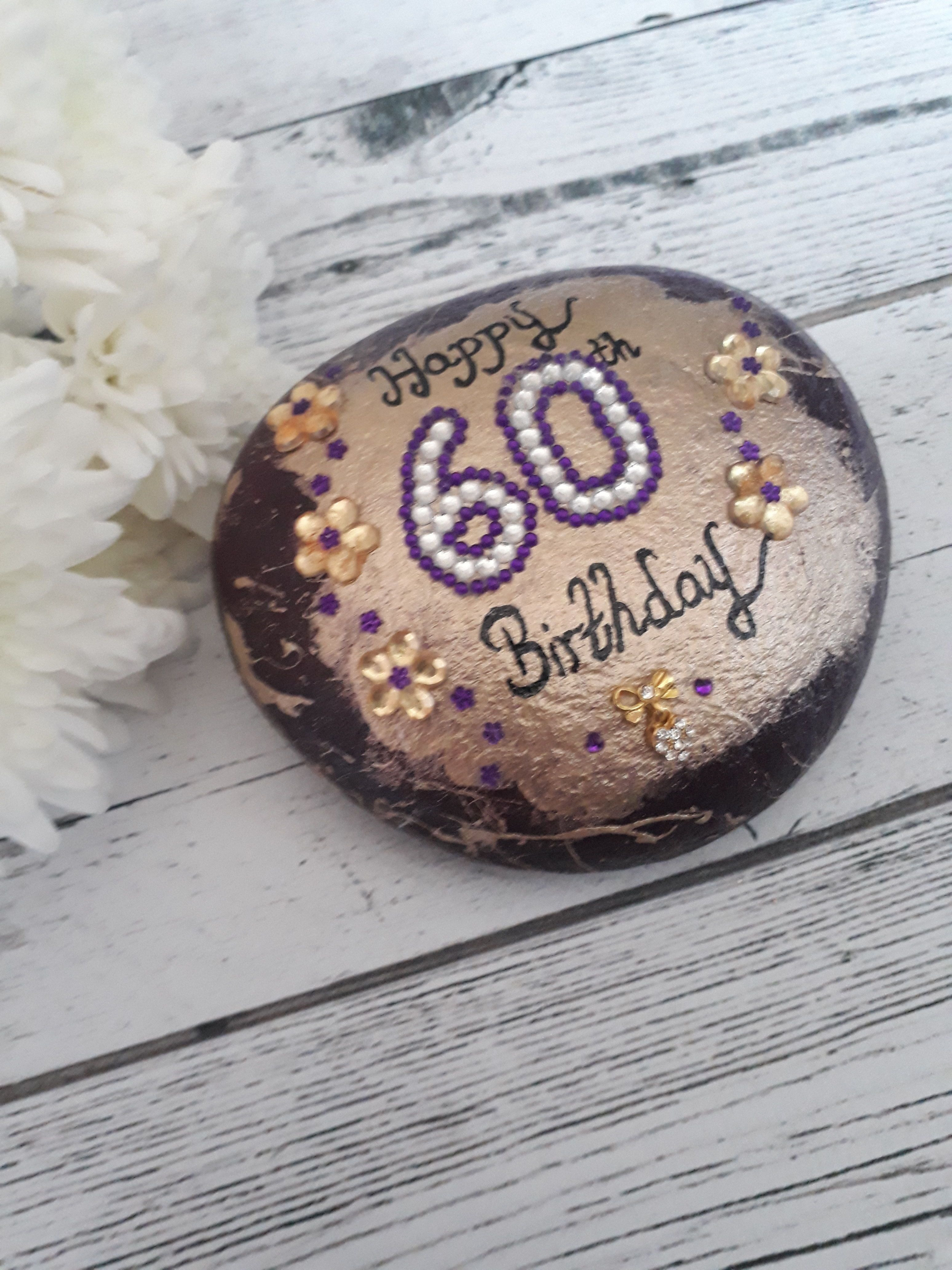 60th Birthday Gift Keepsake Celebration Pebble Comes In A Box Click Here For More Designs