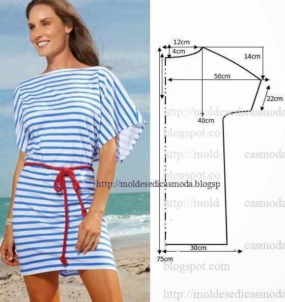 Moldes Moda por Medida: VESTIDO FÁCIL DE FAZER - 19 ~ boatneck and large sleeves! What a breezy top!