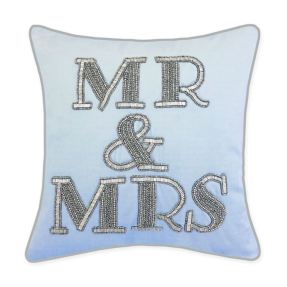 Edie@home Mr. & Mrs. Square Throw Pillow In Blue