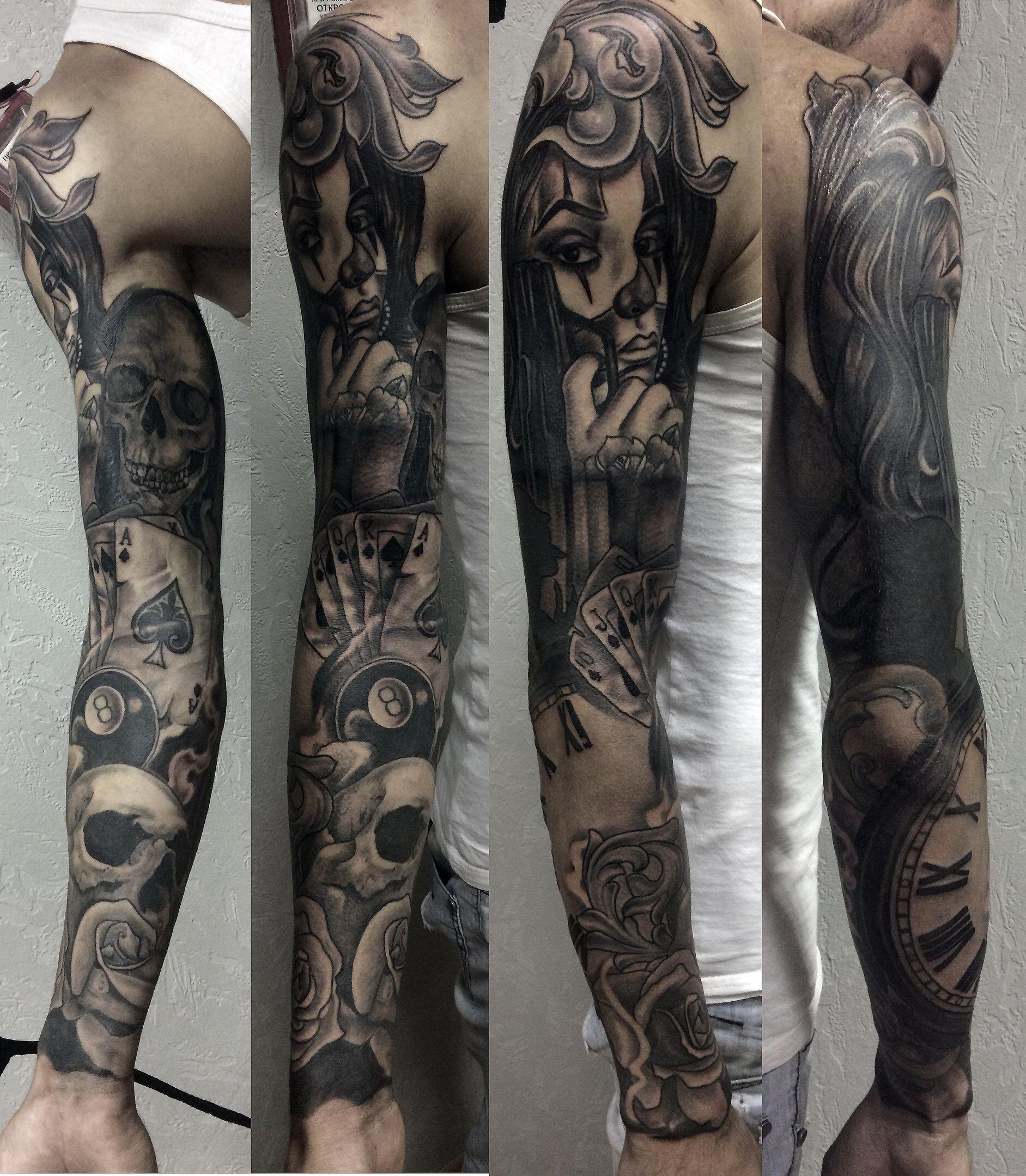 тату рукав чикано графика саша павелко Tattoo Sleeve Chicano Made