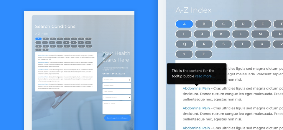 How To Create An A Z Index Of Content With Tooltips For Divi S Doctor S Office Layout Pack With Images Z Index Web Design Doctor Office