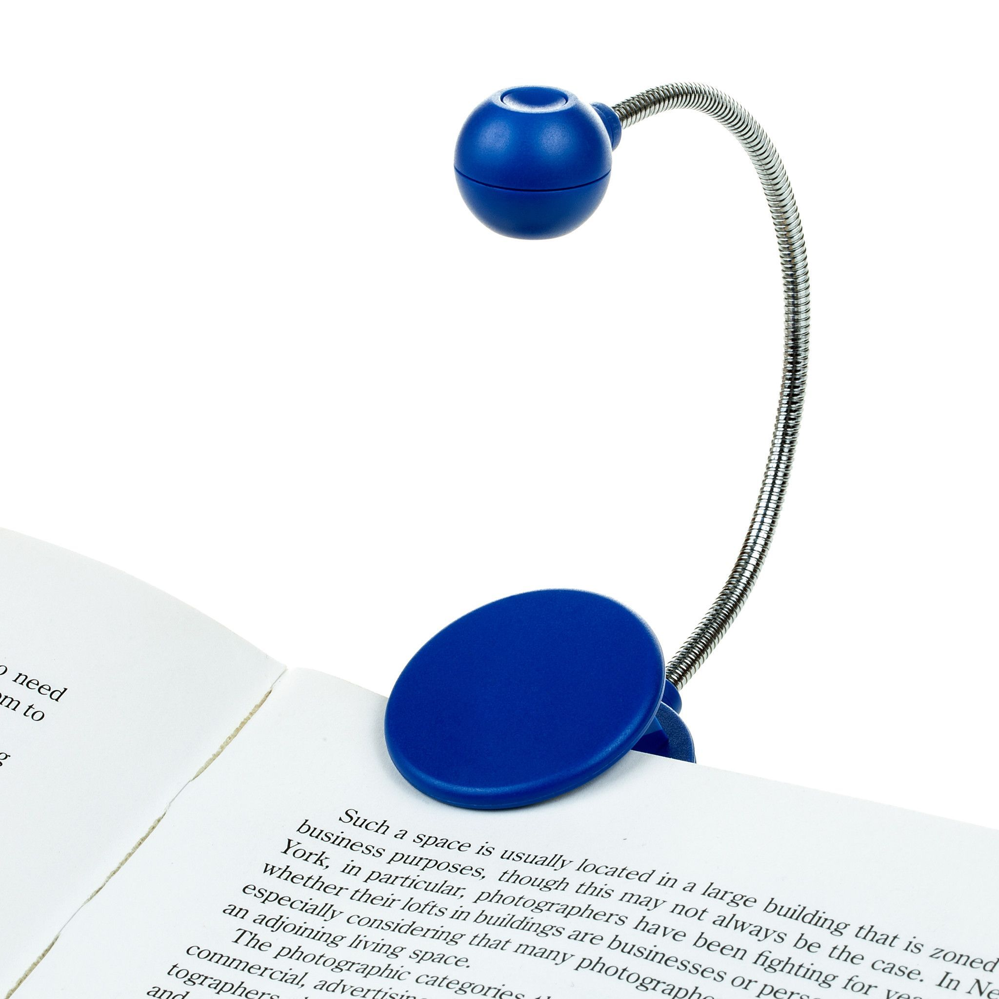 disc light blue chrome neck book light by withit products