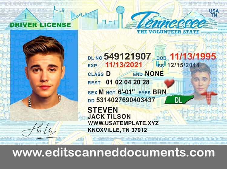 Editable tennessee driving license psd file get
