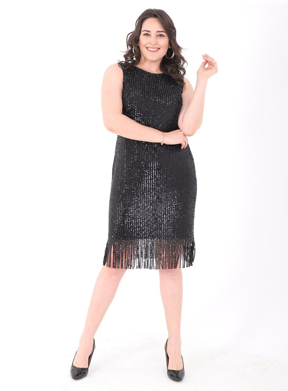 Buyuk Beden 763 Tuvid Elbise Siyah Elbise Kadin Giyim The Dress