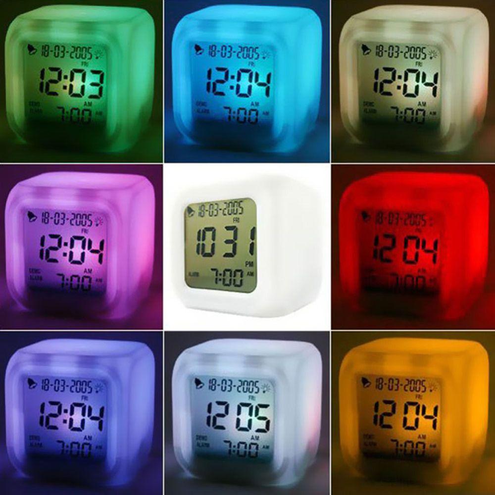 Multifunctionele LED 7 Kleur Glowing Change Digitale Gloeiende Alarm Thermometer Klok Cube