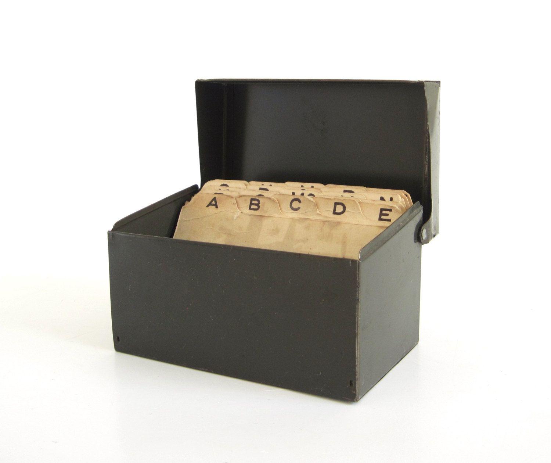 Metal recipe card file box 3 x 5 dark olive green index