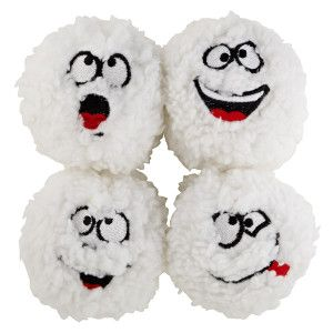 Grreat Choice Pet Holiday Comical Snowball 4 Pack Dog Toy