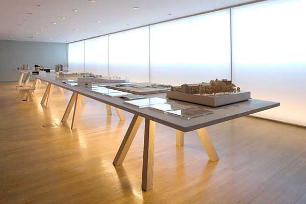Custom made table by John Pawson for his exhibition Plain Space. Beautiufully crafted wooden table with magnificent details.