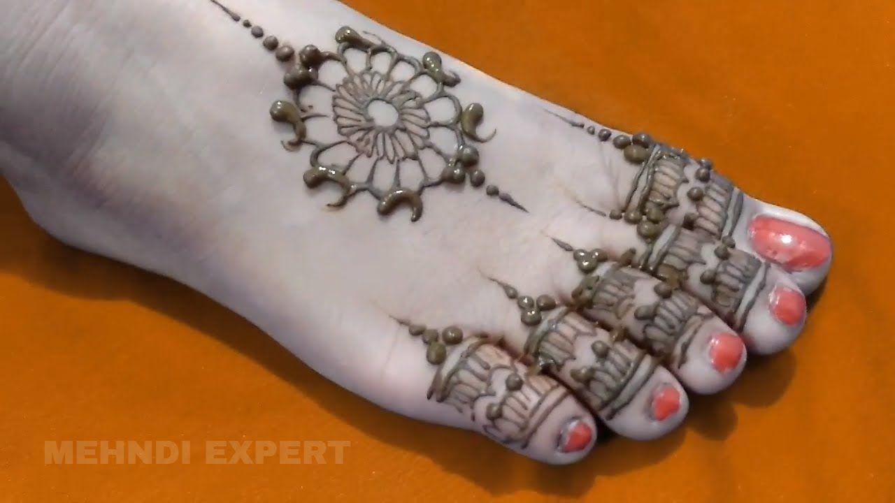Leg Mehndi Easy : Beautiful simple and easy foot leg mehndi design siyaart youtube
