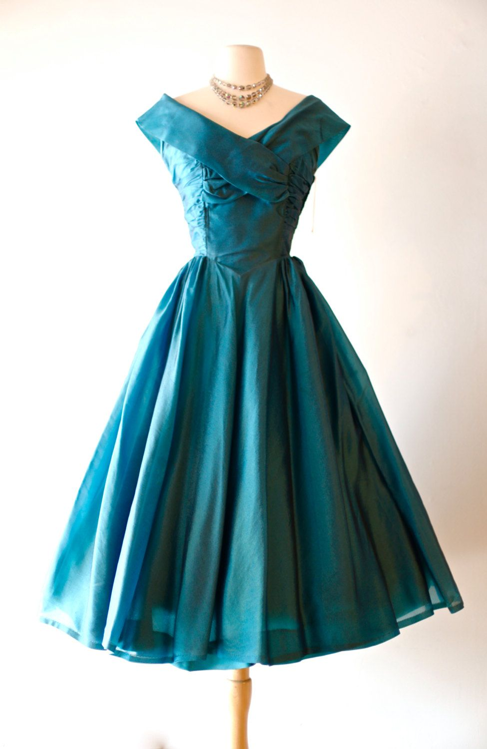 RESERVED///Vintage 1950\'s Iridescent Teal Full Skirt Party Dress ...