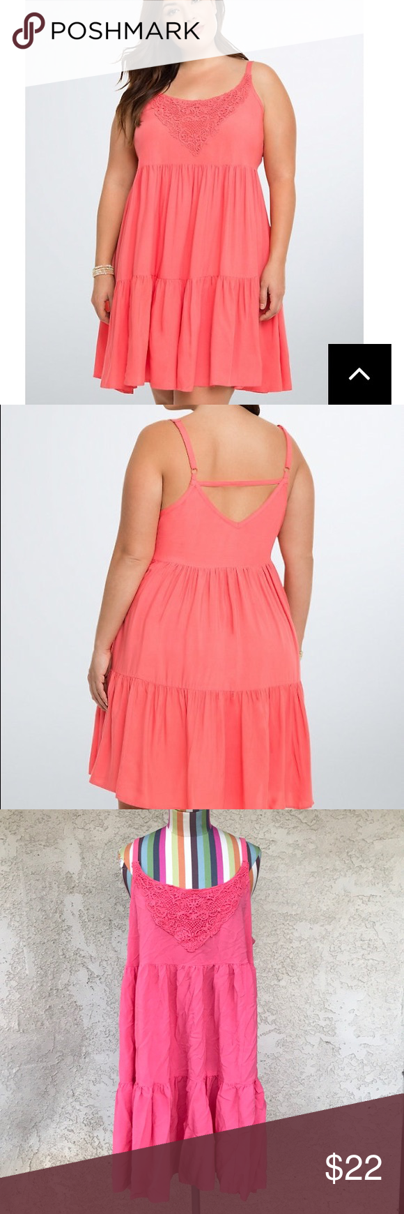 c37cbc0c55b Torrid Crochet Inset Tiered Trapeze Dress Cut with a lightweight flowy  coral challis