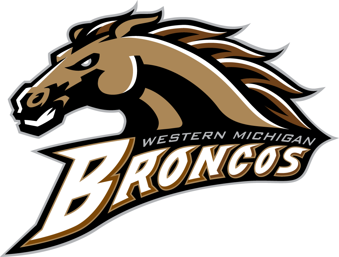 Western Michigan Broncos Primary Logo 1998 Brown And Gold Horse S Head Over Script Western Michigan University Western Michigan Michigan