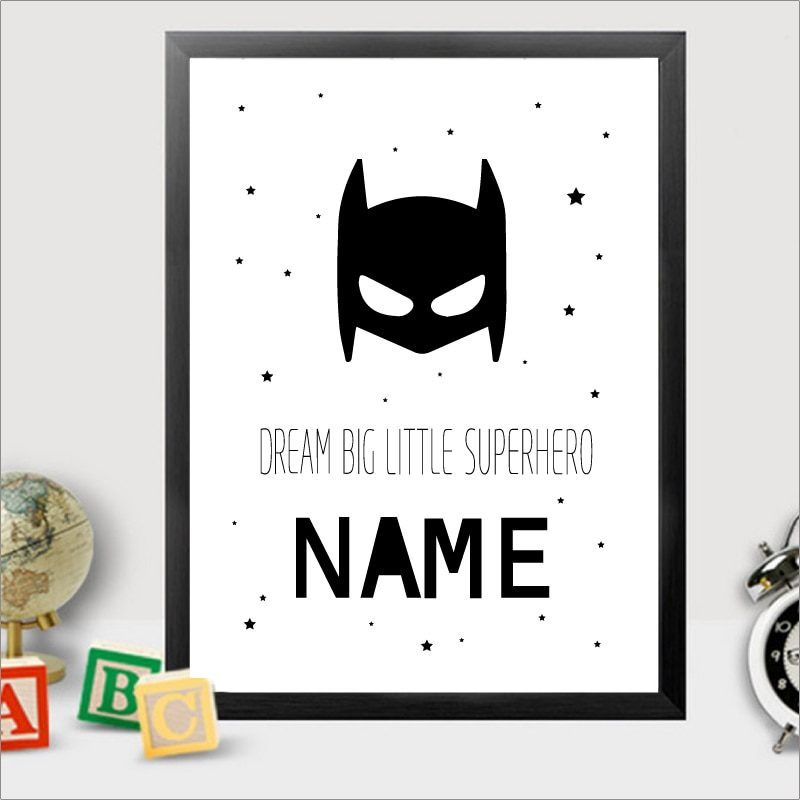 Personalised Batman Name Canvas Art Print Painting Poster ...