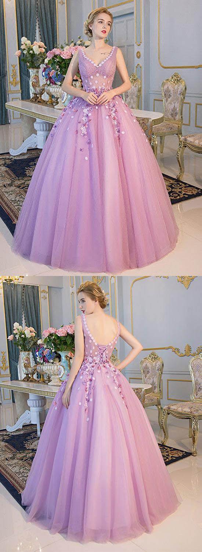 Vneck lace long prom dresses applique evening dresses ball gowns