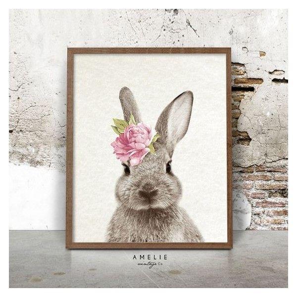 Nursery Wall Art, Rabbit Print, Woodlands Decor, Watercolour Flower ...