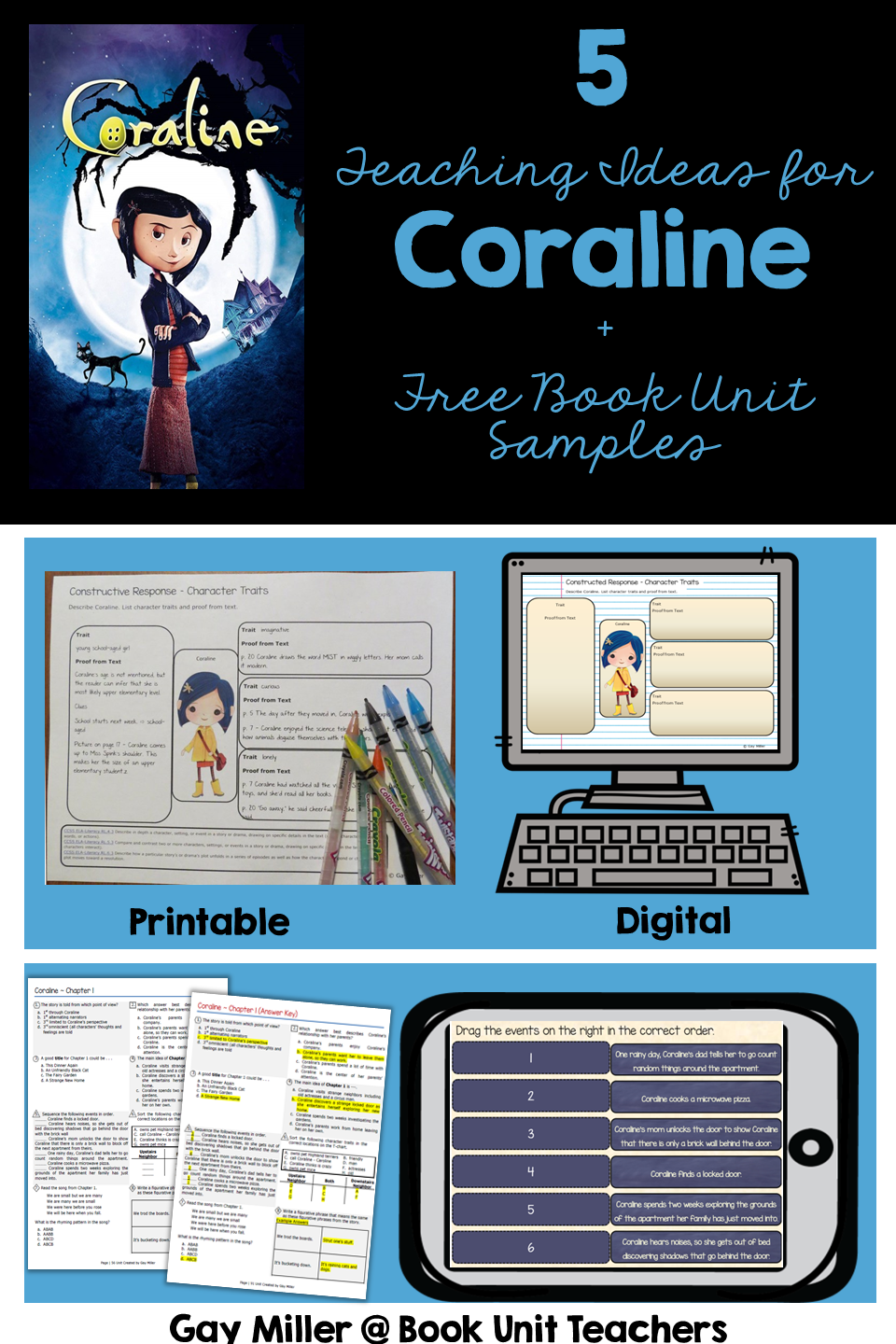 Coraline By Neil Gaiman Activities Book Units Teacher In 2020 Coraline Gaiman Neil Gaiman