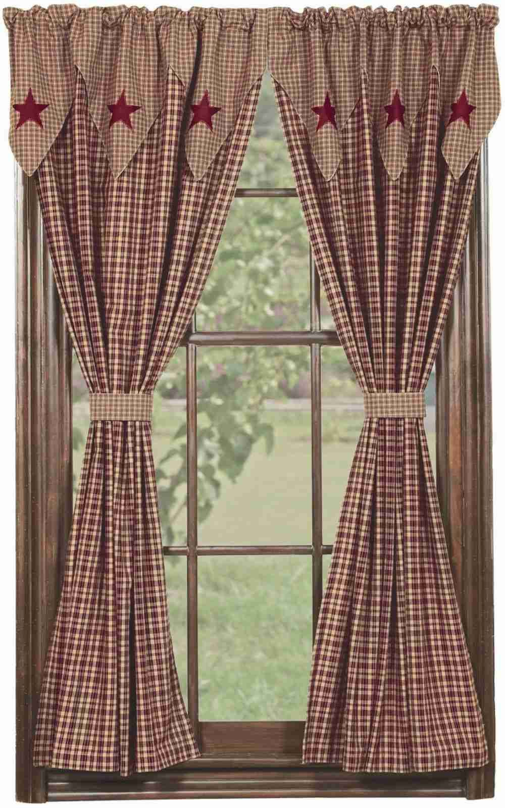Vintage Star Wine Curtain Panels Unlined 63 In Country Kitchen Curtains Panel Curtains Primitive Decorating Country